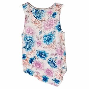 RUFF HEWN Blouse floral high low sleeveless